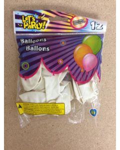 "12"" Round Balloons - White ~ 12 per pack"