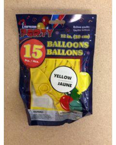 "12"" Round Balloons - Yellow ~ 12 per pack"