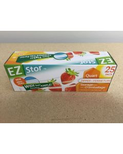"EZ Stor Zipper Seal Storage Bags - 8"" x 7"" ~ 20 per box"