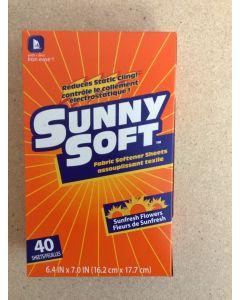 Sunny Soft Fabric Softener Sheets ~ 40 per pack