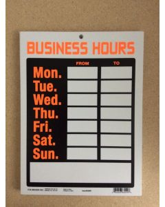 """PVC Sign - 9"""" x 12"""" ~ Business Hours"""
