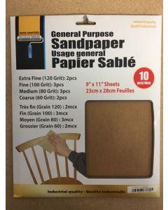 "General Purpose Sandpaper ~ 9""x11"" ~ Assorted Grits"