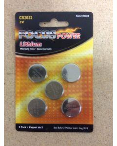 CR2032 Focus Lithium Batteries ~ 5/pk