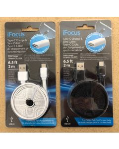 """iFocus Type """"C"""" USB Charge & Sync Cable ~ 6.5'"""