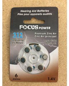 Hearing Aid Batteries #312 ~ 6 per pack