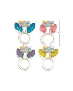 "Easter Plush Iridescent Bunny Ears Headband ~ 11"""