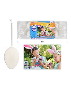 """Easter White Decorate your own Eggs with String in Egg Carton - 2-3/8"""" ~ 12 per pack"""