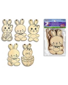 Easter Color Your Own Wooden Bunnies with String ~ 6 per pack