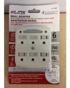 Wall Adaptor w/6 Outlets, Surge Protection and Night Light