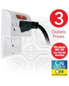 eLink 3 Outlet Wall Tap with Automatic Night Light