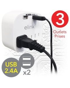 eLink 3 Outlet Wall Tap with 2 USB Ports