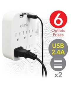 eLink 6 Outlet Wall Tap with 2 USB Ports