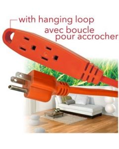 Outdoor Extension Cord with Hanging Loop & 3 Outlets ~ 15' / 4.6M