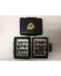Mr Fly Waterproof & Floatable Fly Box w/ 18 Assorted Salmon Flies