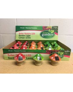 "3"" Solar LED Polyresin Garden Mushroom Light"