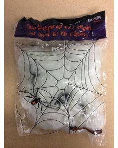 Halloween White Spider Web w/4 Black Spiders