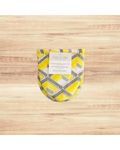 Shorty Oven Mitt with Silicone ~ Yellow/Grey Print