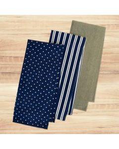 Tea Towels - 1 solid + 2 printed ~ 3 pieces