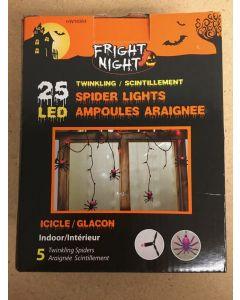 Halloween LED Indoor Twinkling Spider Icicle Light Set ~ 25 per pack