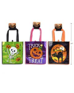 """Halloween Coated Non-Woven Printed Trick or Treat Bag ~ 16""""L"""