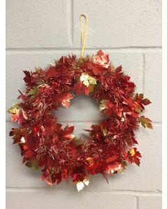 """Harvest 2-Tone Embossed Maple Leaf Tinsel Wreath ~ 14""""D"""