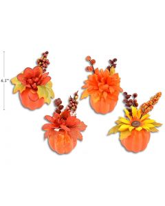"""Pumpkin with Flower Table Top Decor ~ 6"""" x 3-1/8"""""""