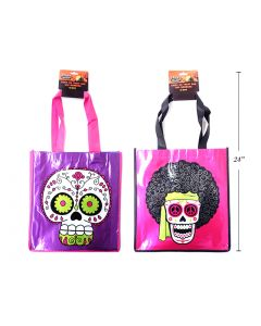 """Halloween Printed Metallic Foil Non-Woven Day of the Dead Trick or Treat Bags ~ 13""""L x 21.5""""W"""