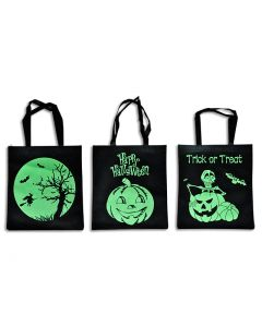 "Halloween Glow in the Dark Non-Woven Trick or Treat Bags ~ 14.75""L x 16.75""W"