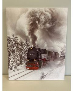 "Christmas Framed Print with LED Lights - Train ~ 20"" x 16"""