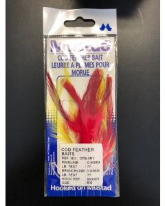 Mustad Cod Feather Bait Rig, 5 per string ~ Red/Yellow