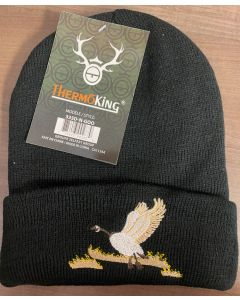 Black Lined Toque with Goose Embroidery