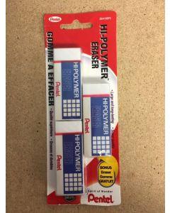 Pentel Erasers - White Hi-Polymer ~ 3 per pack