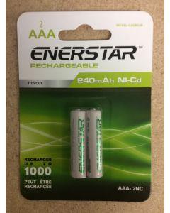 "EnerStar ""AAA"" Rechargeable Ni-cd Batteries ~ 2/pk"