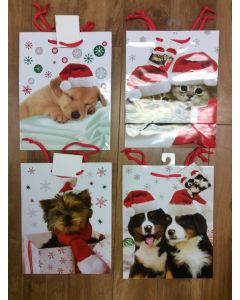 Medium Christmas Gift Bags ~ Puppies & Kitten