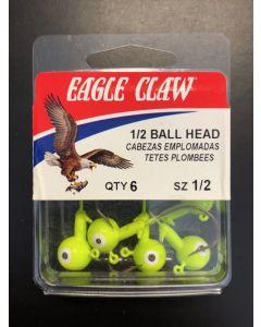 Eagle Claw 1/2oz Double Eye Jig Ball Head - 6/k ~ Chartruese