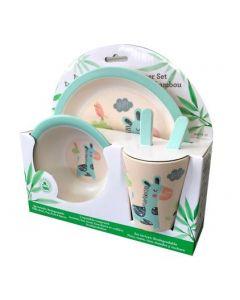 Kid's Bamboo Dish Set - Giraffe ~ 5 piece set