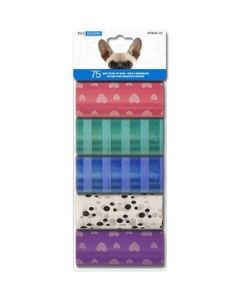 Dog Clean Up Bags - Printed ~ 15 bags x 5 rolls per pack