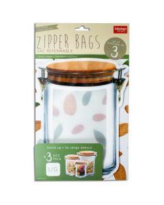 Stand-Up Jar Shaped Zipper Bags ~ Set of 3