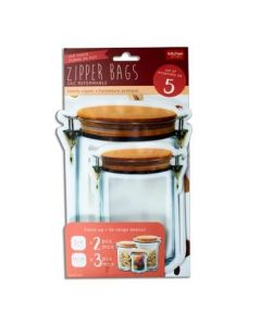 Stand-Up Jar Shaped Zipper Bags ~ Set of 5