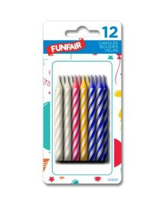 Birthday Candle - Striped Assorted Colors ~ 12 per pack