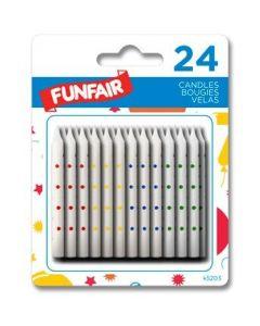 Birthday Candle - White w/Polka Dots ~ 24 per pack