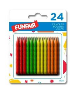 Birthday Candle - Neon Colors ~ 24 per pack
