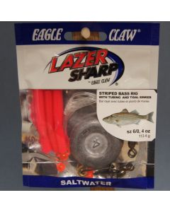 Eagle Claw Weighted Striped Bass Rig w/Pink Tubing & 4oz Tidal Flat Weight