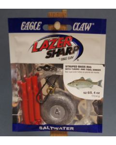 Eagle Claw Weighted Striped Bass Rig w/Red Tubing & 4oz Tidal Flat Weight