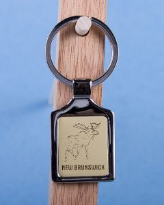 New Brunswick Moose Keychain w/Gold Background