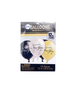 """New Year's 12"""" Round Balloons ~ 8 per pack"""
