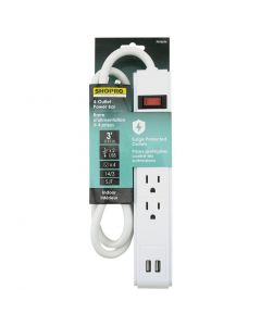 ShopPro Power Bar 4 outlets with 2 USB ~ 3' cord