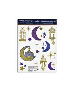 """Ramadan Glitter Window Clings ~ 17"""" x 12"""""""