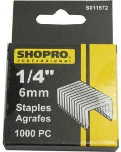 """ShopPro Staple Gun Staples - 1/4"""" / 6 mm ~ 1000 per pack"""