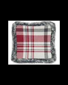 Christmas Printed Cushions with Faux Fur Trim ~ Red Plaid